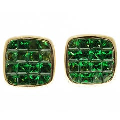 Green Square Tsavorite Garnet  Yellow Gold Earrings