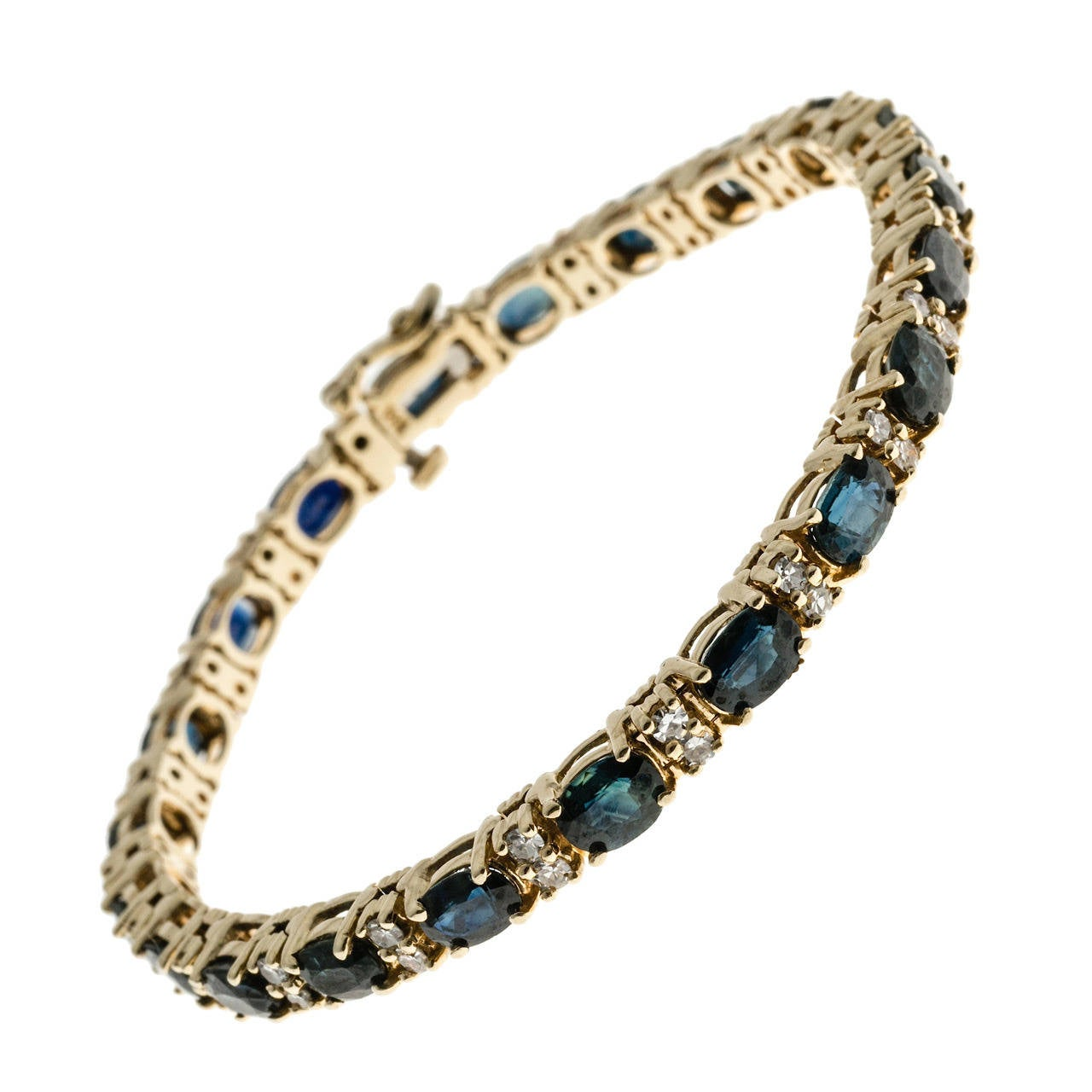 Oval Royal Sapphire Diamond Gold Hinged Link Bracelet For Sale