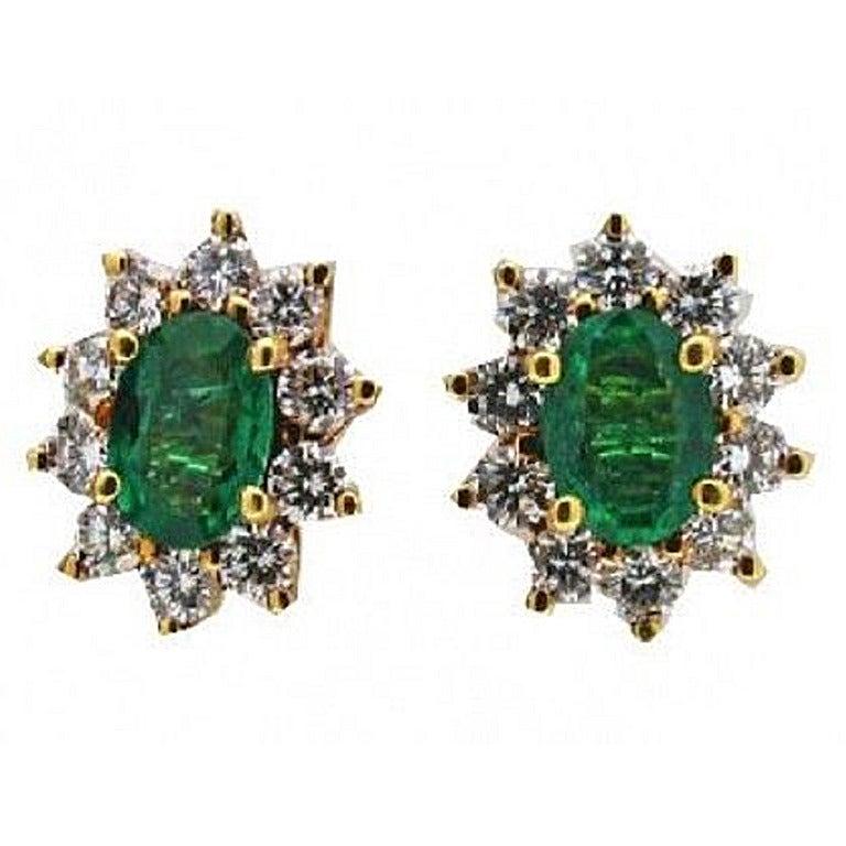 Colombian Emerald Diamond Gold Earrings
