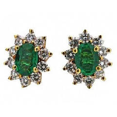 Colombian Emerald Diamond Gold Earrings