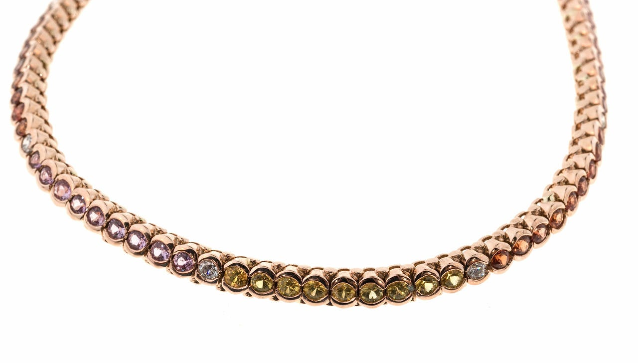 Multicolor Sapphire Diamond Gold Hinged Link Bracelet In Good Condition For Sale In Stamford, CT