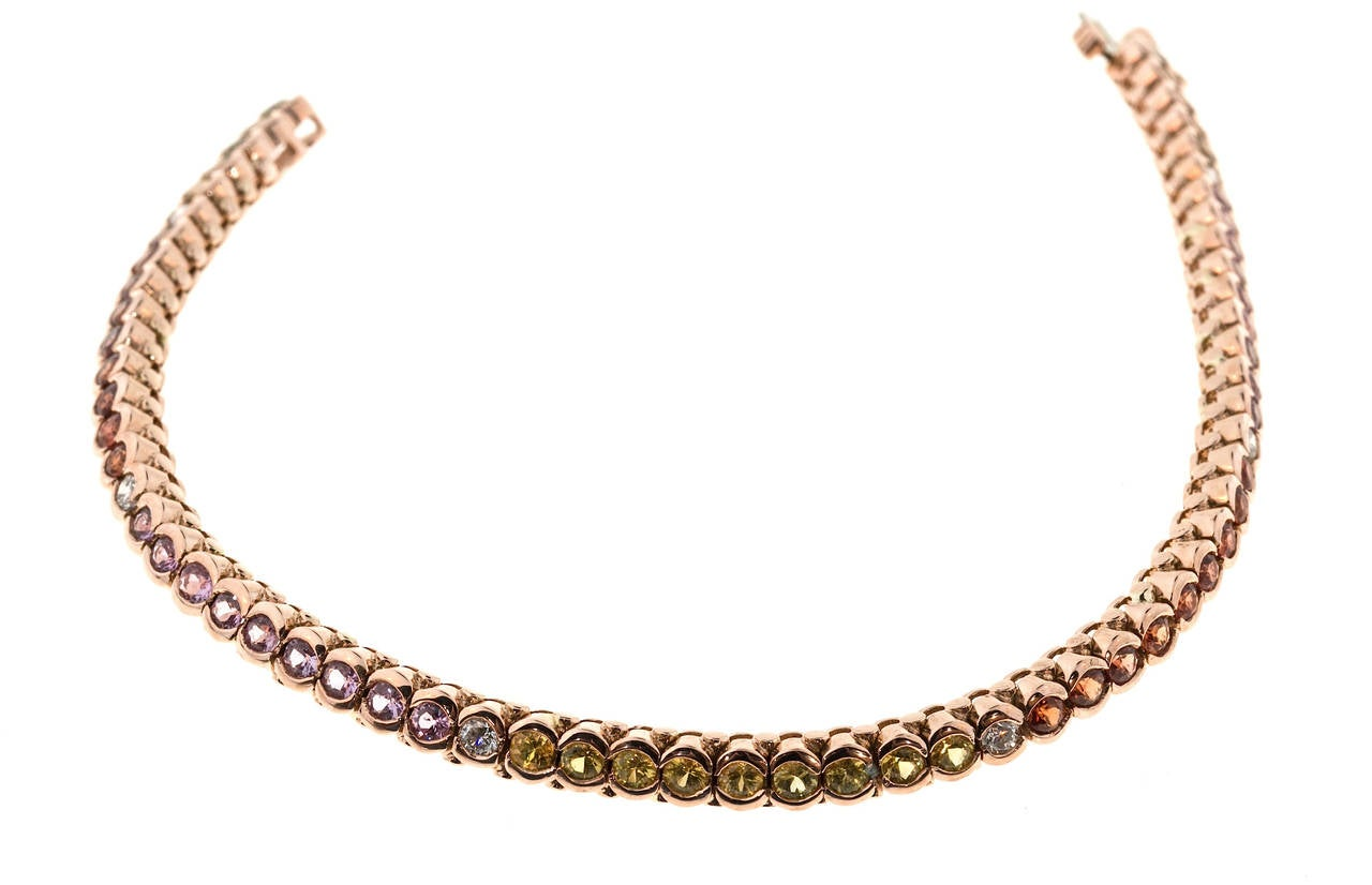 Women's Multicolor Sapphire Diamond Gold Hinged Link Bracelet For Sale