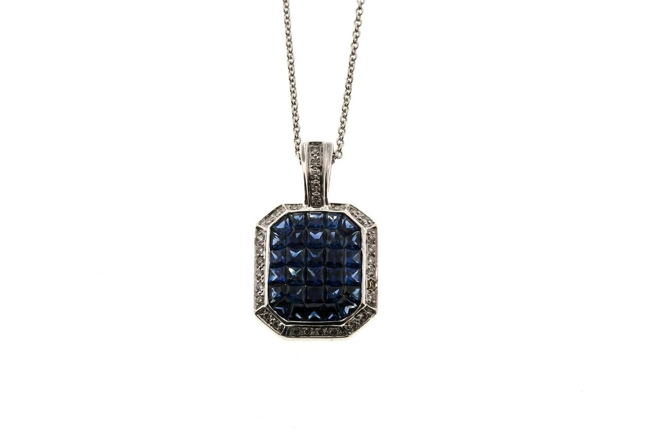 Invisible set sapphire diamond gold pendant necklace for sale at 1stdibs sapphire bright blue custom cut invisibly set sapphires in a beautiful 18k white gold pendant with aloadofball Images