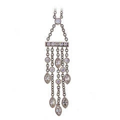 Tiffany & Co. .99 Carat Diamond Platinum Swing Drop Pendant Necklace