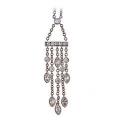 Tiffany & Co. .99 Carat Diamond Platinum Swing Drop Pendant Necklace