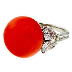 Natural Coral Diamond Platinum Ring