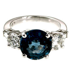 Natural Round Sapphire Brilliant Cut Diamond Platinum Ring