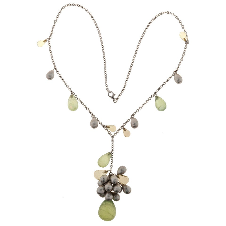 Colored Briolette Quartz Citrine Bead Gold Necklace