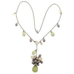 70.26 Carat Colored Briolette Quartz Citrine Bead Gold Pendant Necklace