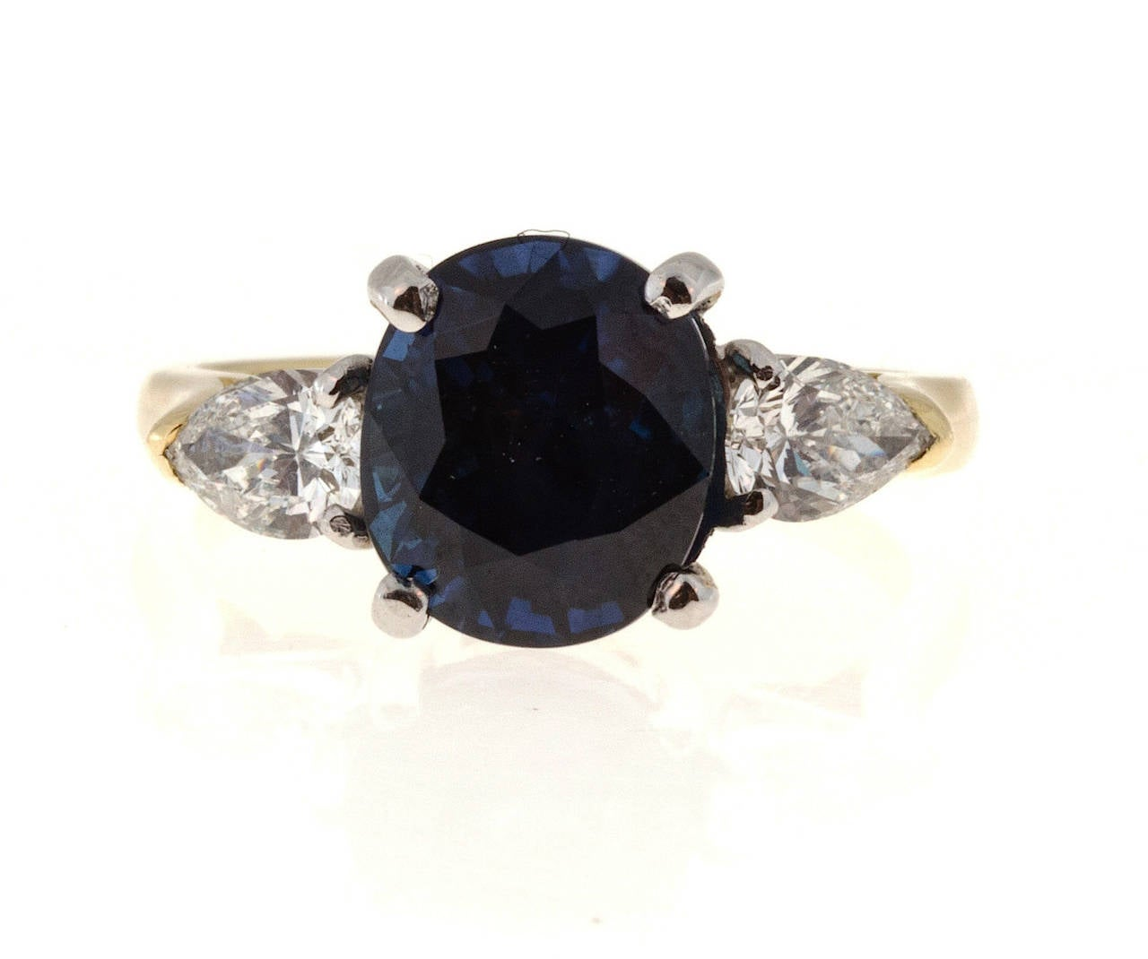 Natural Royal Blue Sapphire Pear Shaped Diamond Gold Platinum Ring For Sale a
