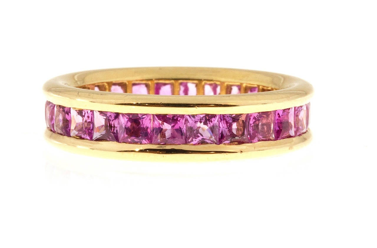 princess cut pink sapphire gold eternity band ring at 1stdibs