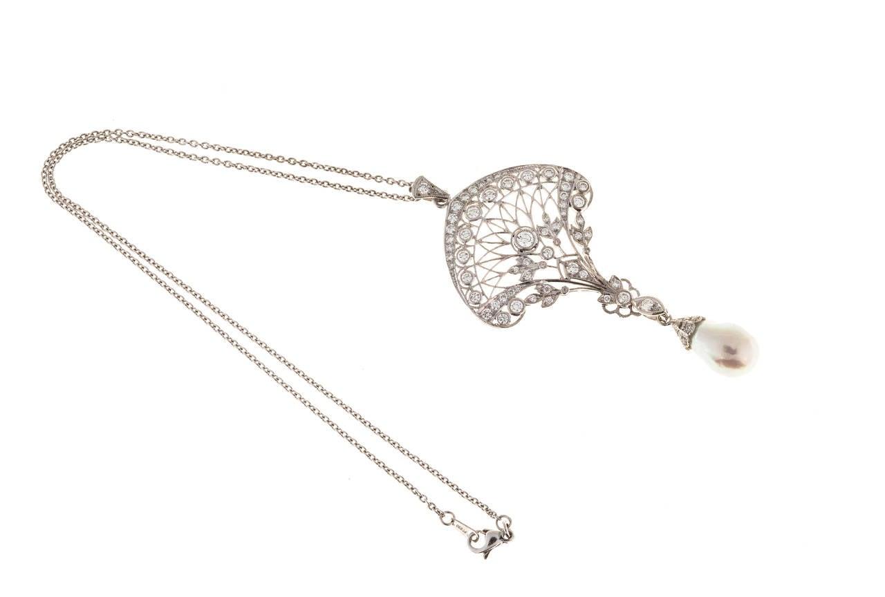 Edwardian South Sea Baroque Pearl Pave Diamond Platinum Pendant Chain 3