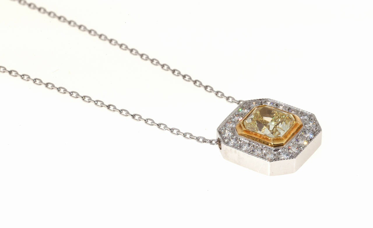Art Deco Peter Suchy Designs Yellow Canary Diamond Gold Platinum Pendant Chain For Sale
