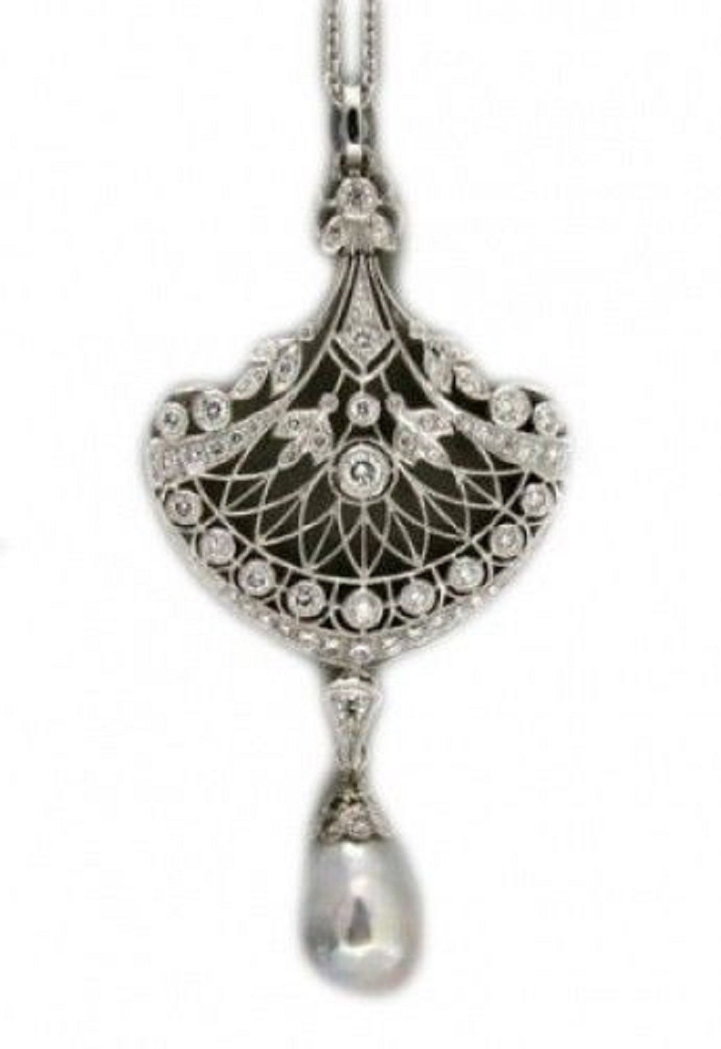 Edwardian South Sea Baroque Pearl Pave Diamond Platinum Pendant Chain 4