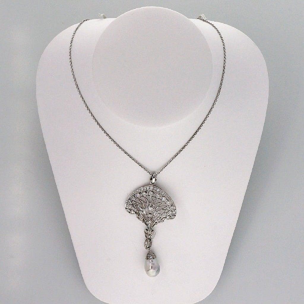 Edwardian South Sea Baroque Pearl Pave Diamond Platinum Pendant Chain 5