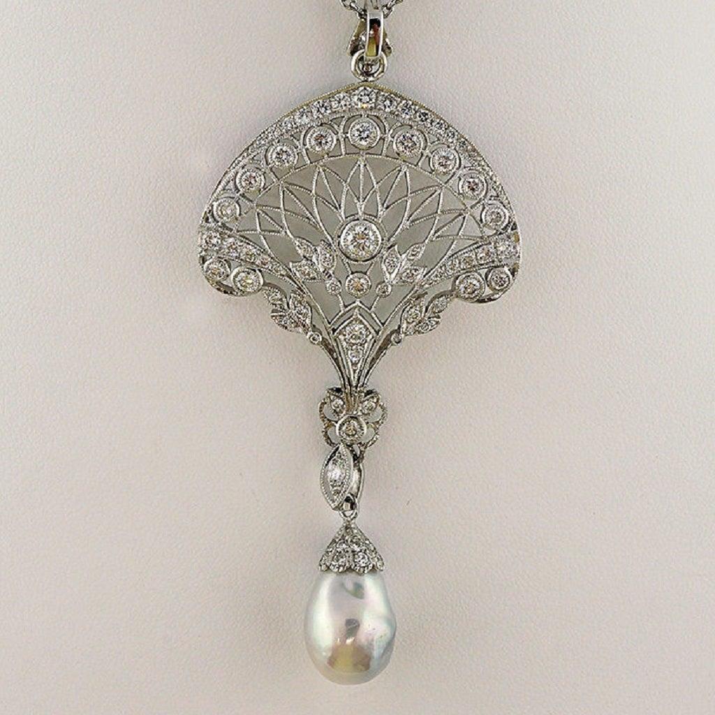 Edwardian South Sea Baroque Pearl Pave Diamond Platinum Pendant Chain 6