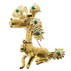 Spitzer & Furman Turquoise Ruby Gold Party Dog Pin