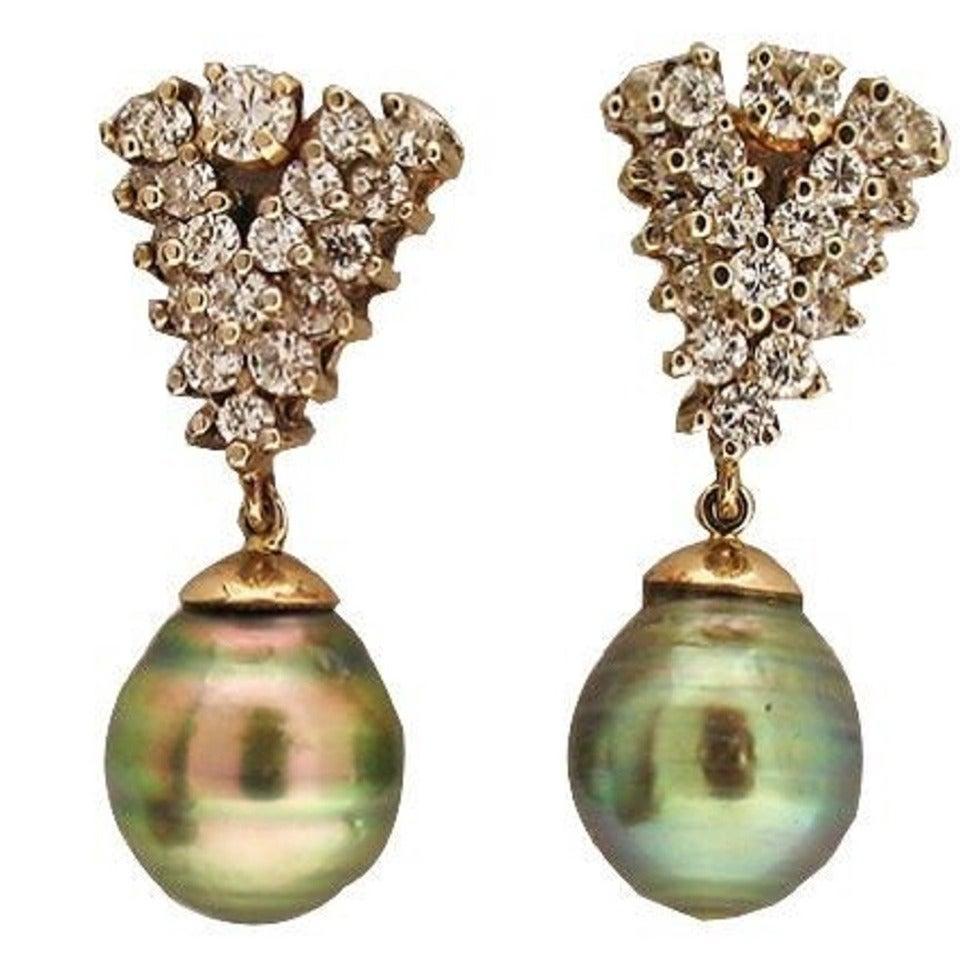 Black South Sea Baroque Pearl Diamond Gold Earrings