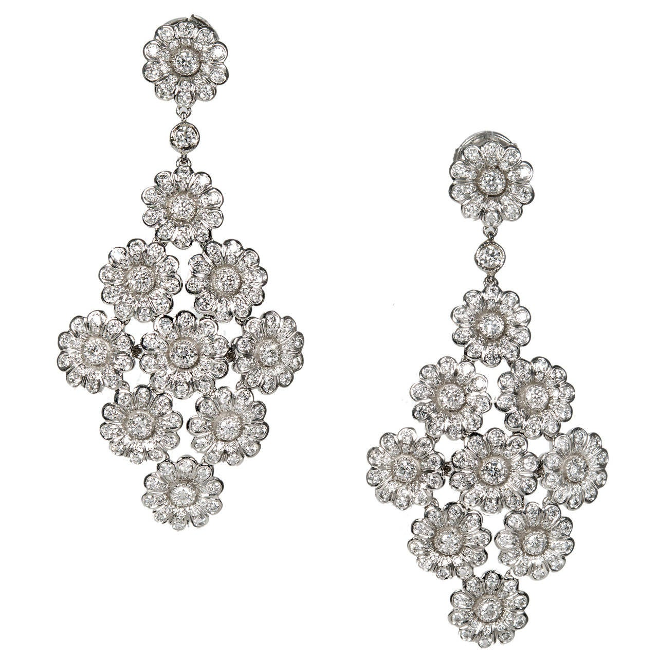Tiffany & Co. 4.15 Carat Diamond Platinum Dangle Chandelier Earrings