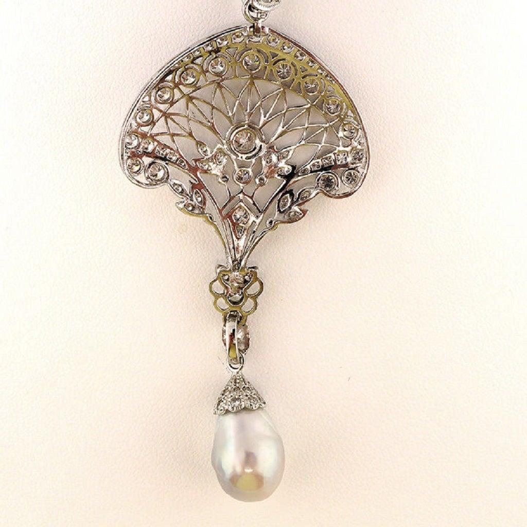Edwardian South Sea Baroque Pearl Pave Diamond Platinum Pendant Chain 9