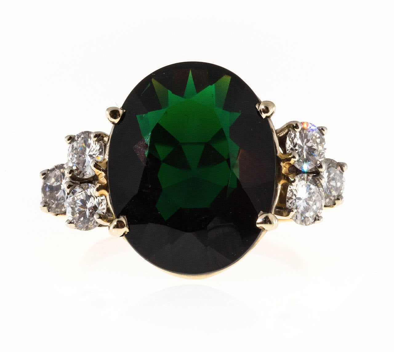 Deep Green Tourmaline Diamond Yellow White Gold Ring For