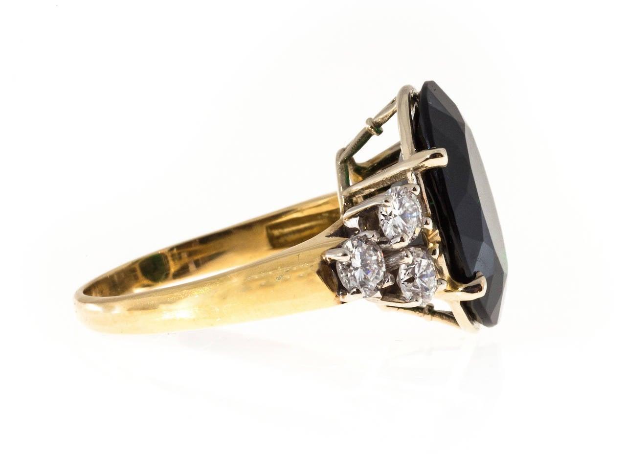 Modern Deep Green Tourmaline Diamond Yellow White Gold Ring For Sale