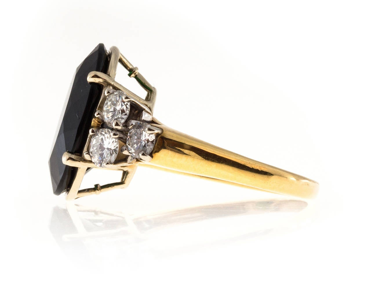 Deep Green Tourmaline Diamond Yellow White Gold Ring In Good Condition For Sale In Stamford, CT