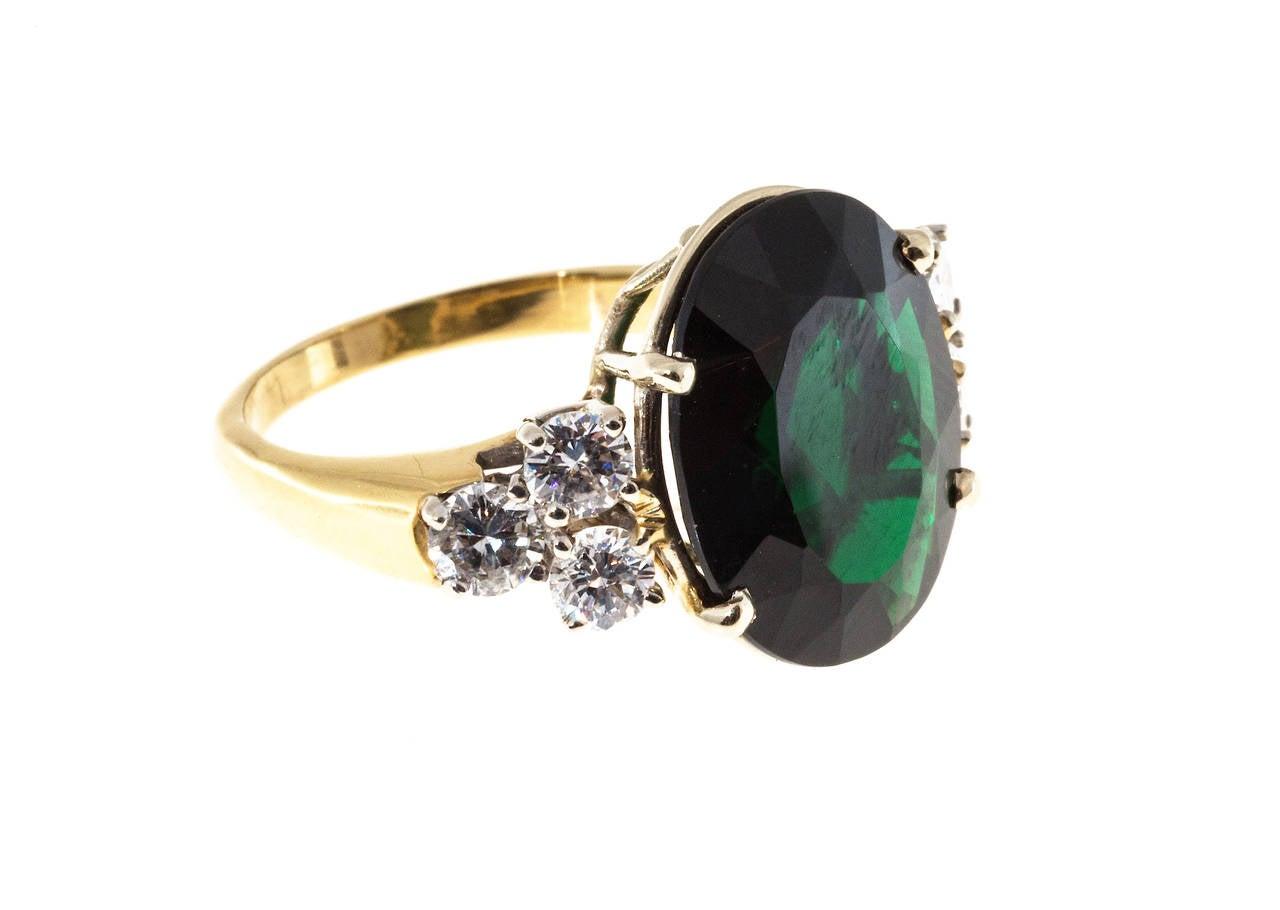 Women's Deep Green Tourmaline Diamond Yellow White Gold Ring For Sale