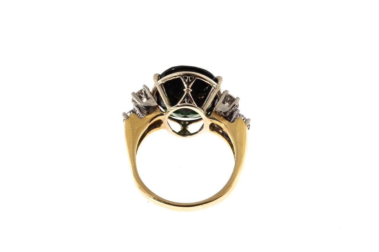 Deep Green Tourmaline Diamond Yellow White Gold Ring For Sale 1