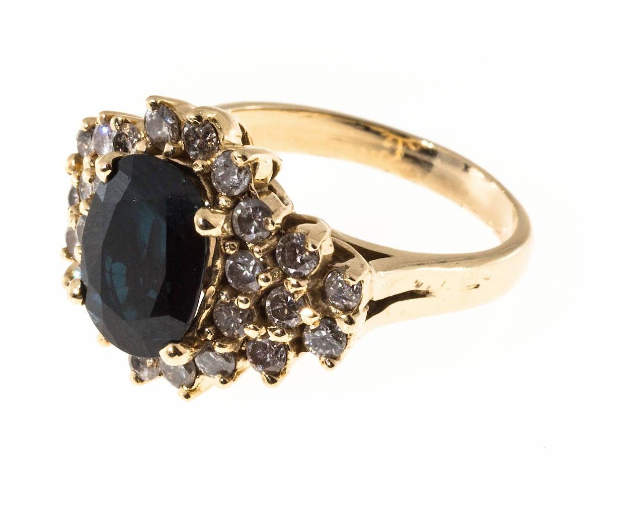 Deep Royal Blue Sapphire Diamond Gold Ring 2
