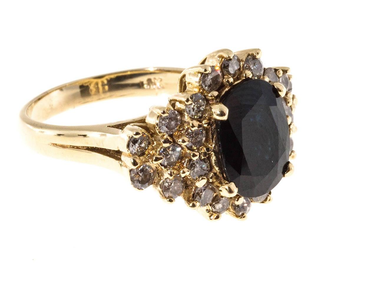 Deep Royal Blue Sapphire Diamond Gold Ring 3