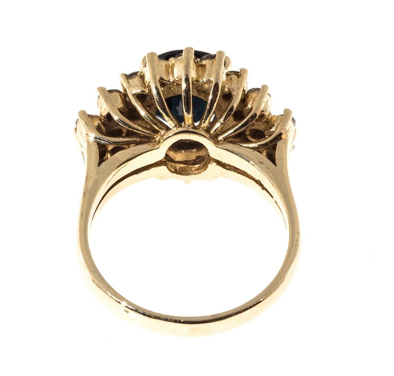 Deep Royal Blue Sapphire Diamond Gold Ring 4