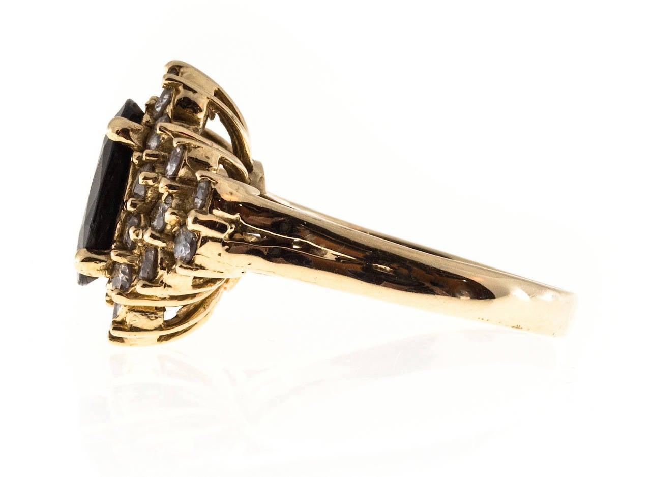 Deep Royal Blue Sapphire Diamond Gold Ring 5