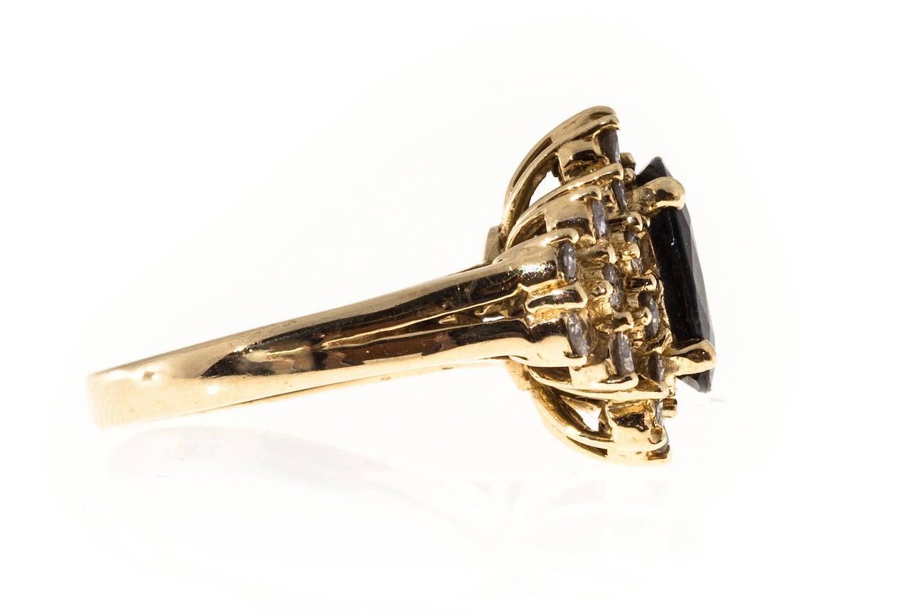 Deep Royal Blue Sapphire Diamond Gold Ring 6