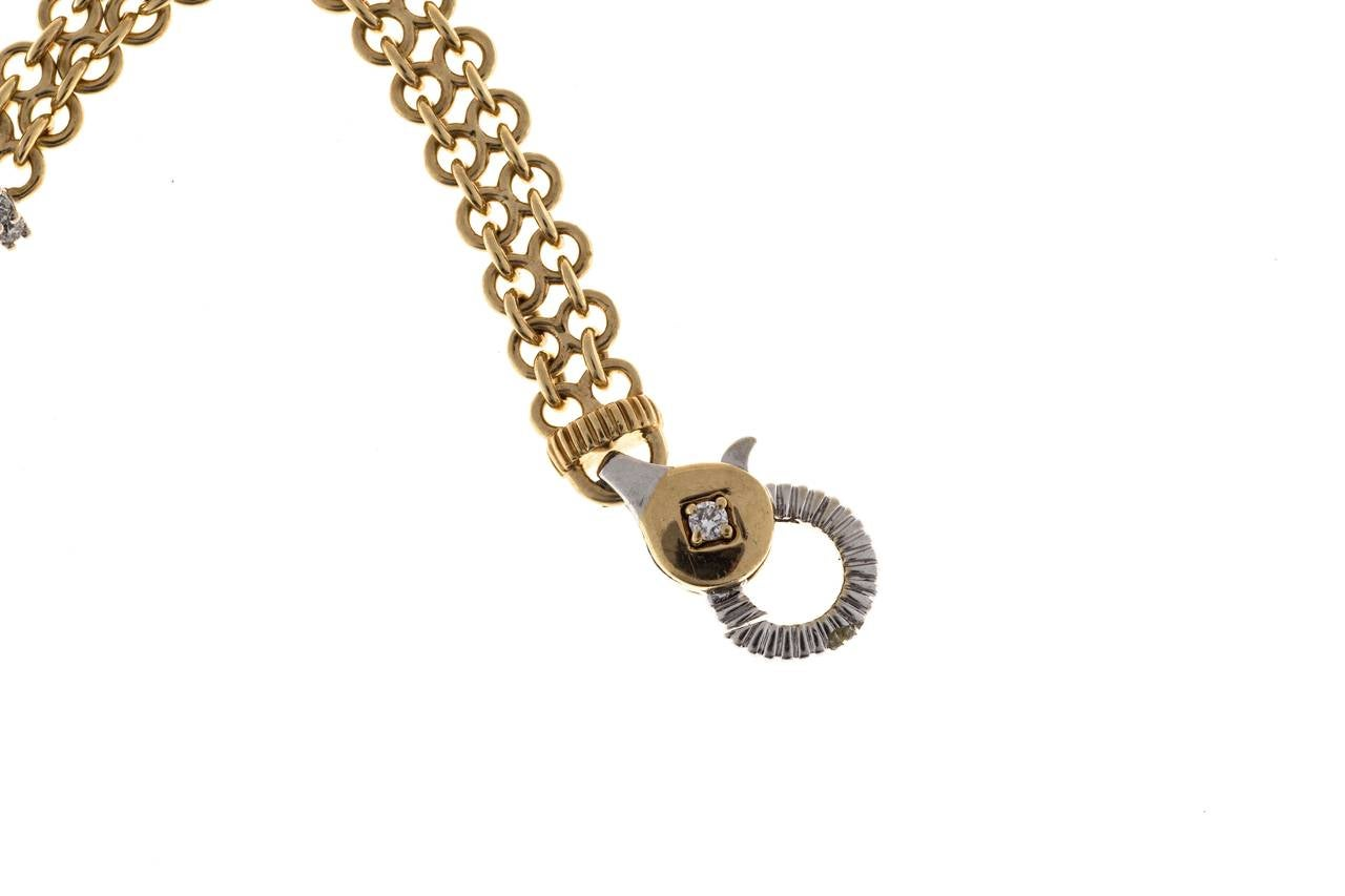 Diamond Gold Two Row Chain Link Circle Bracelet In Good Condition For Sale In Stamford, CT