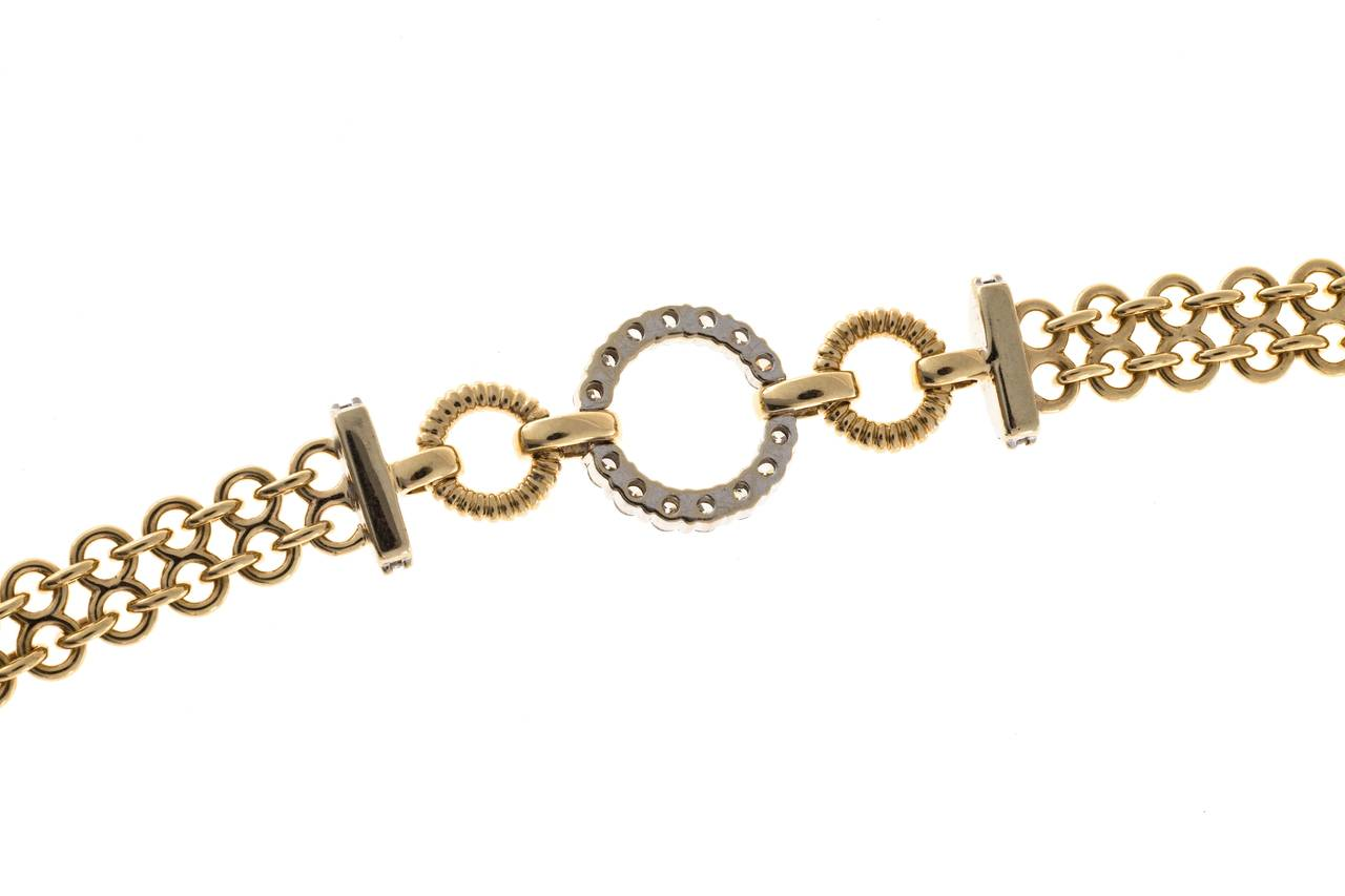 Women's Diamond Gold Two Row Chain Link Circle Bracelet For Sale
