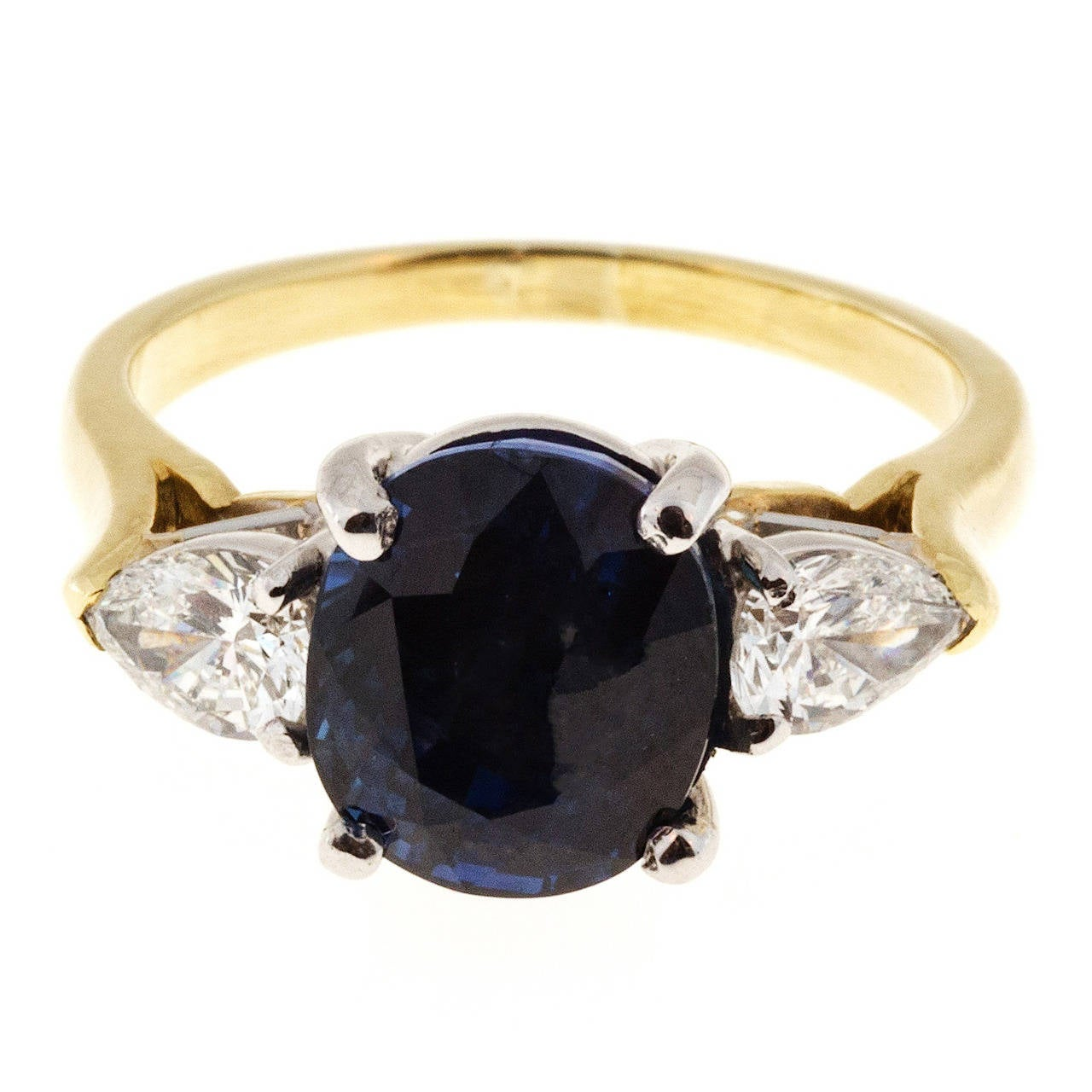 Natural Royal Blue Sapphire Pear Shaped Diamond Gold Platinum Ring