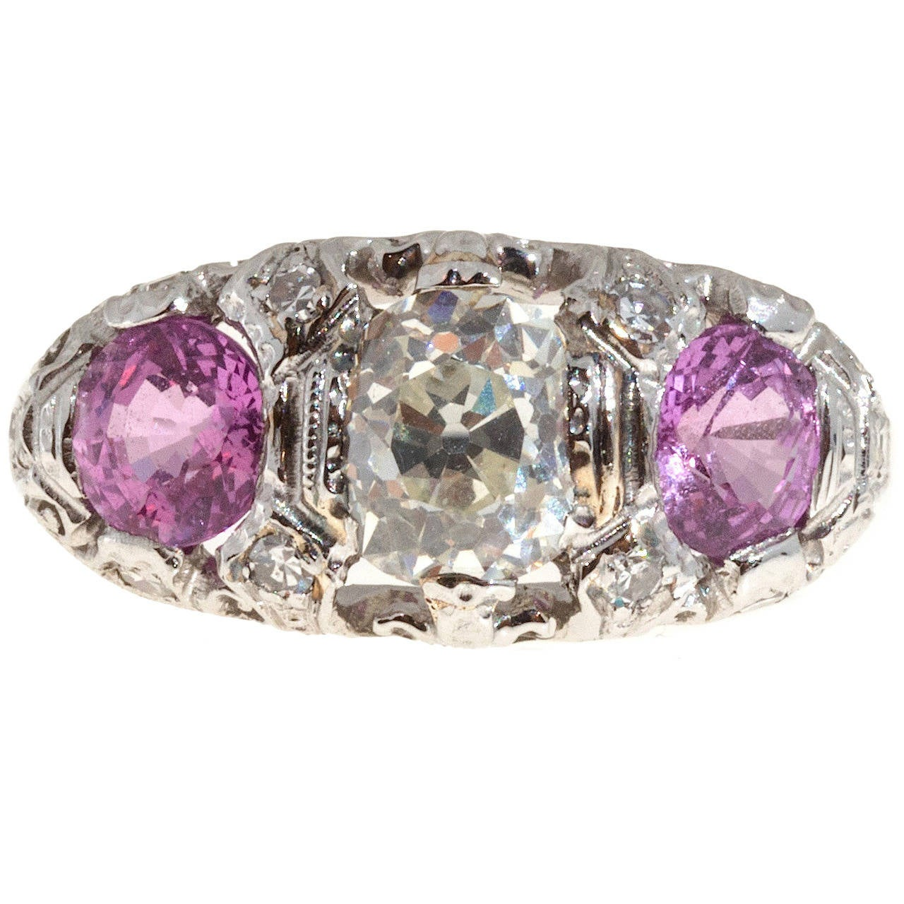1920s Pink Sapphire Diamond Platinum Ring