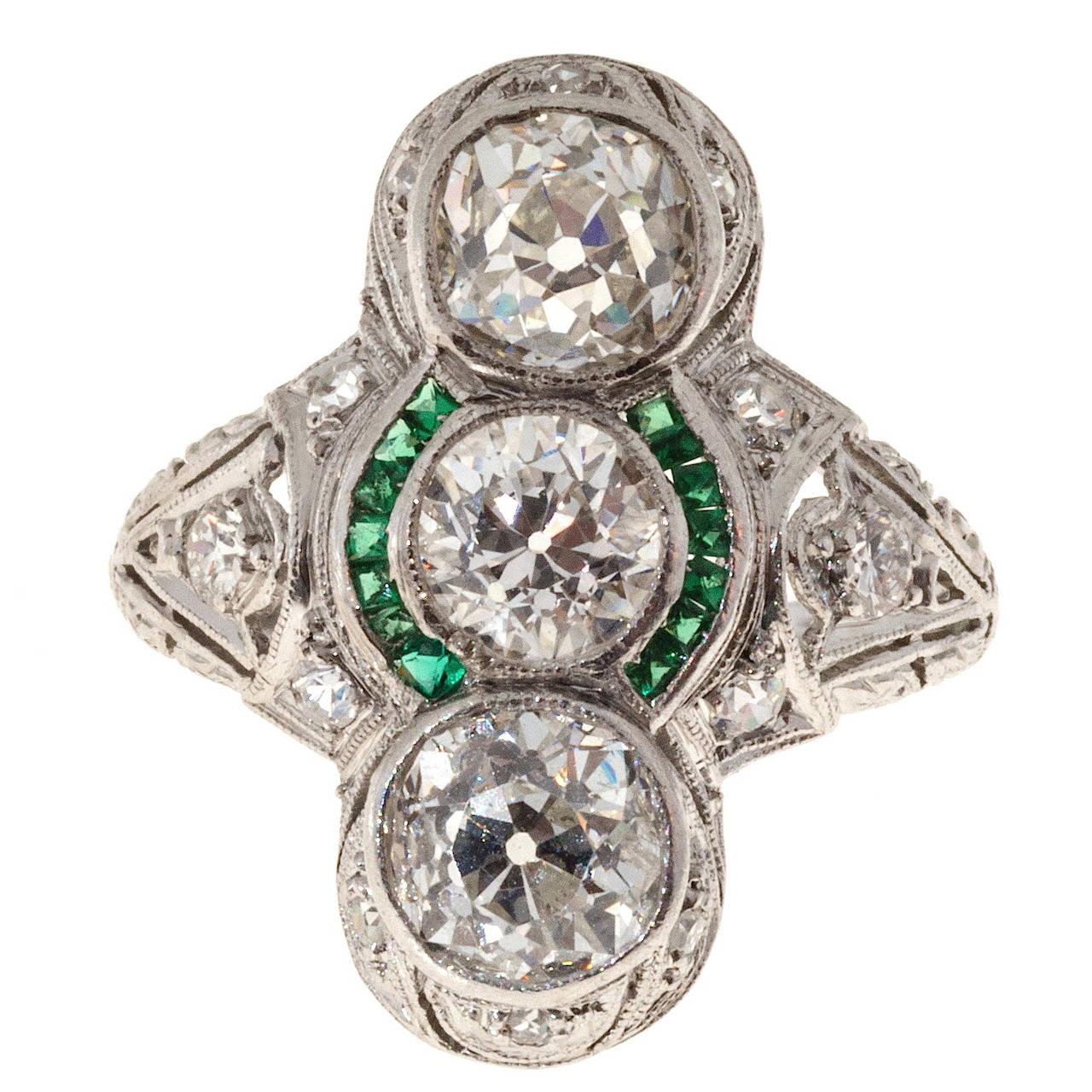 Art Deco Three Diamond Emerald Platinum Ring