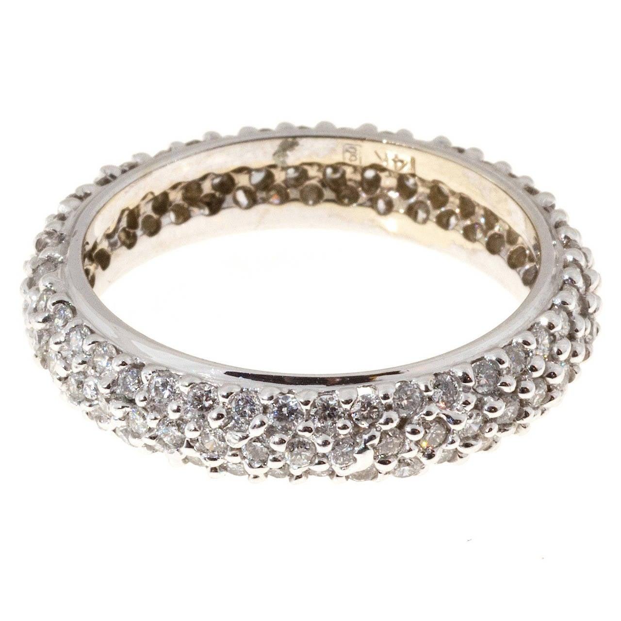 Domed Three Row Diamond Gold Eternity Ring