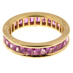 3.75 Carat Princess Cut Pink Sapphire Gold Eternity Band Ring