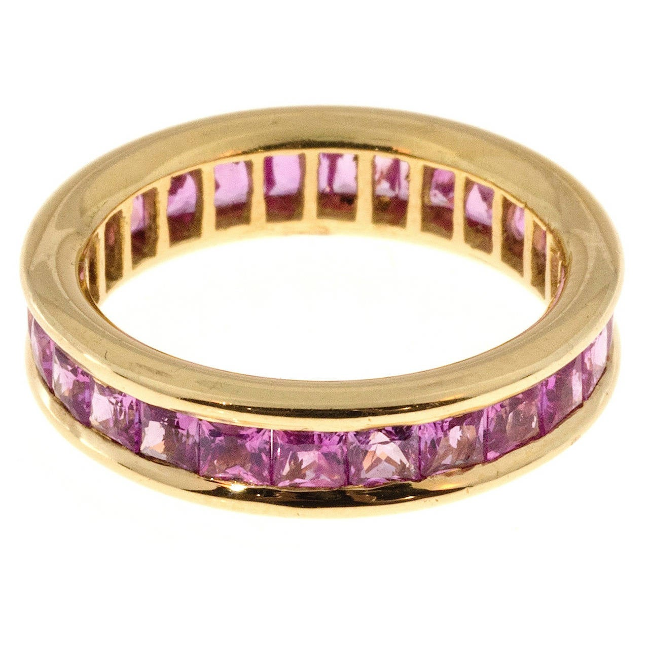 Princess Cut Pink Sapphire Gold Eternity Band Ring