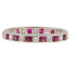 Engraved Ruby Diamond Platinum Channel Band Ring