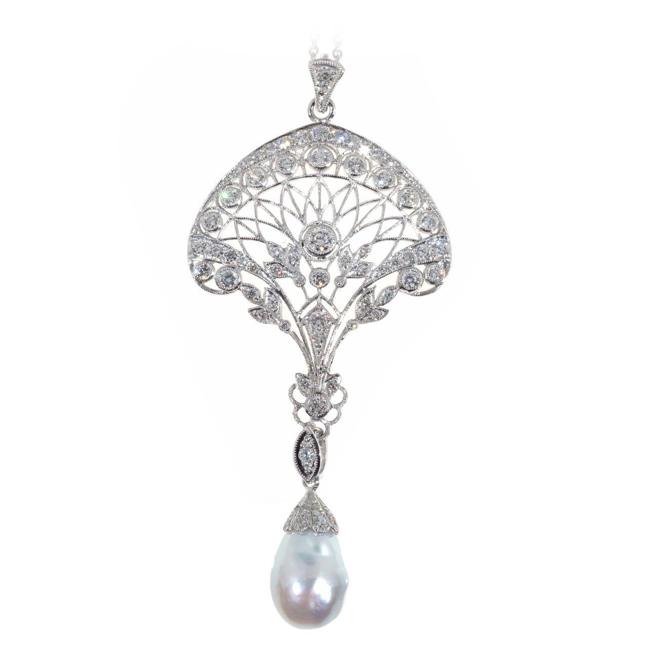 Edwardian South Sea Baroque Pearl Pave Diamond Platinum Pendant Chain