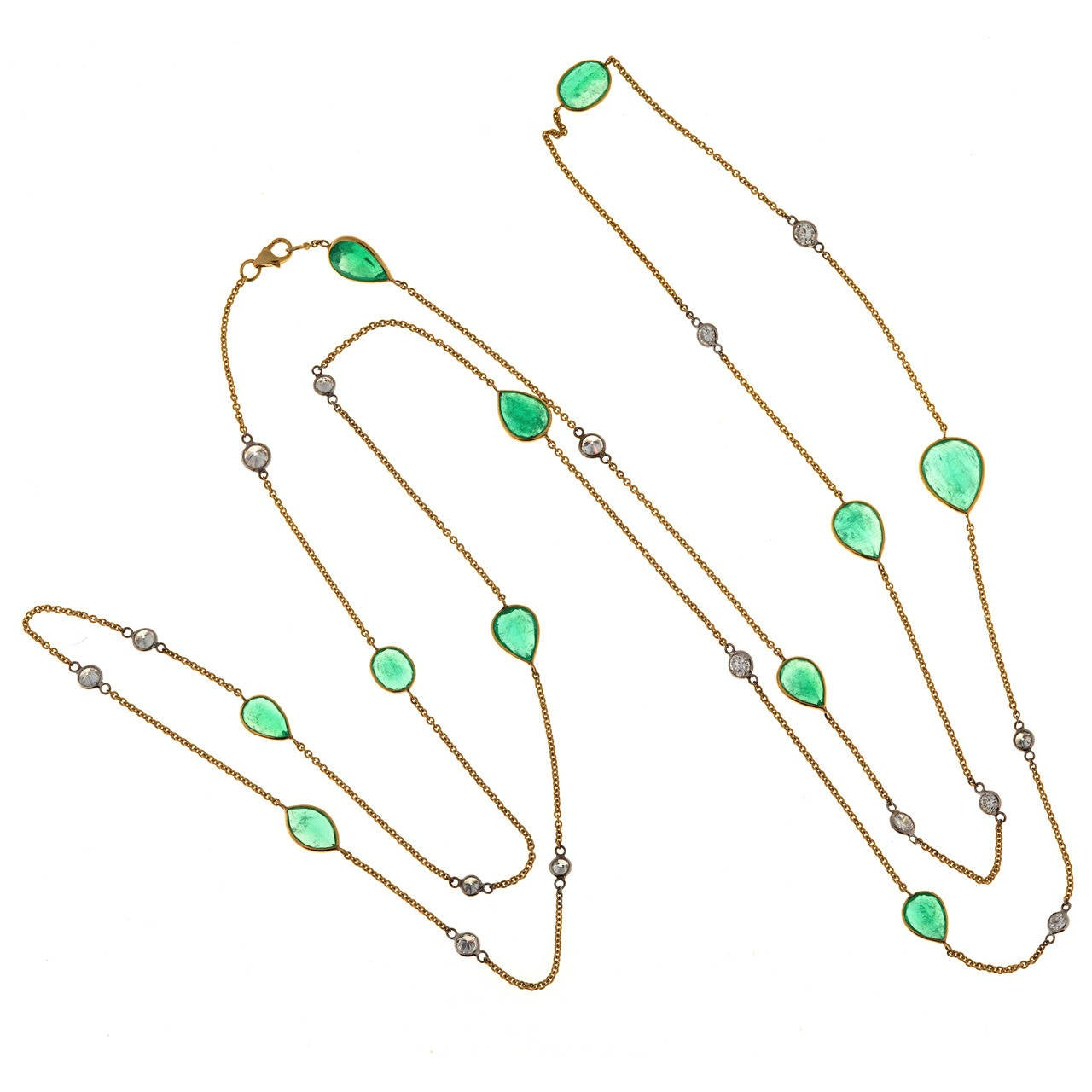 Emerald Diamond by the Yard Style Gold Chain Necklace
