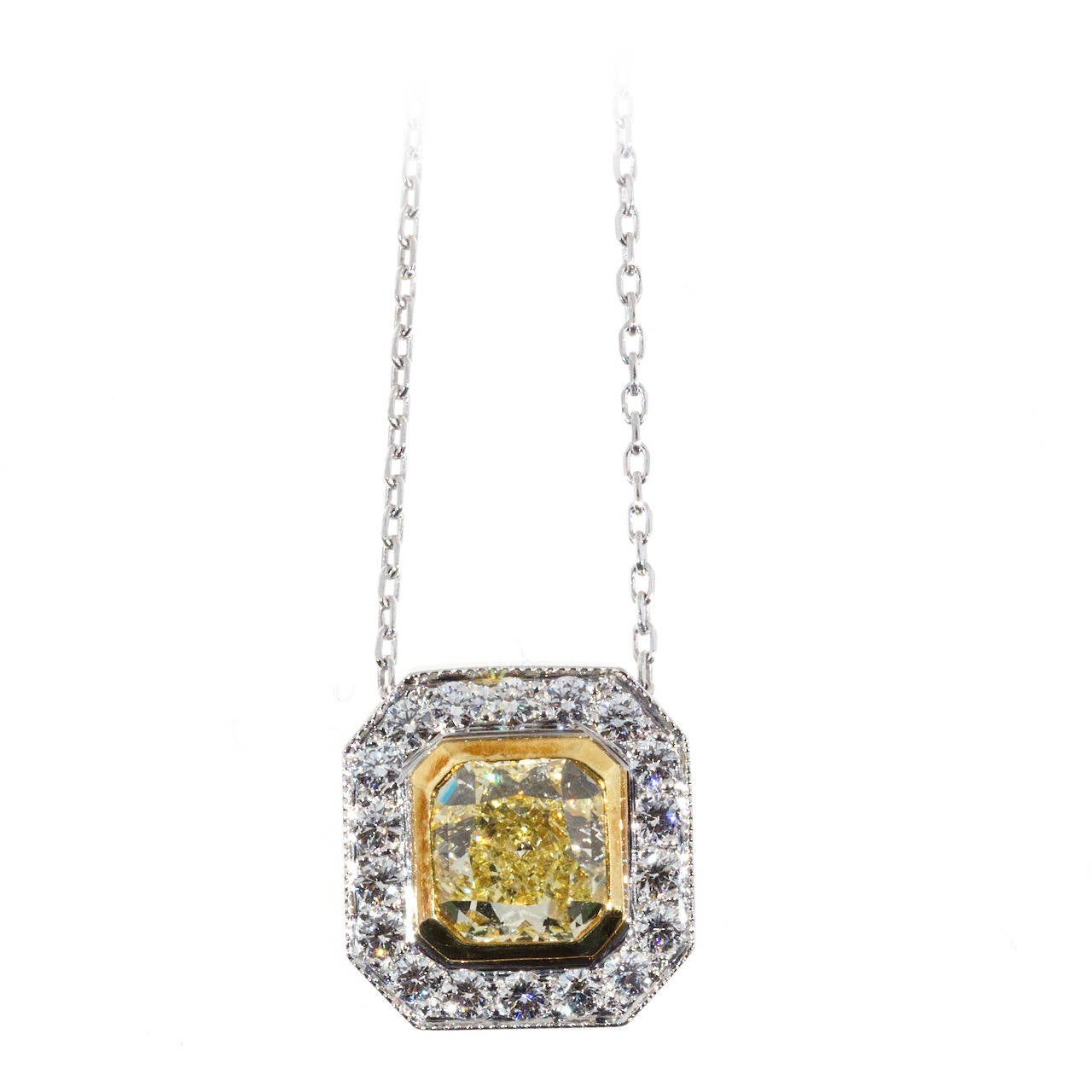 Peter Suchy Designs Yellow Canary Diamond Gold Platinum Pendant Chain