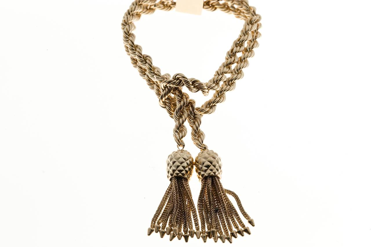 Art Deco Tiffany & Co. Rope Knot Tassel Gold Bracelet For Sale
