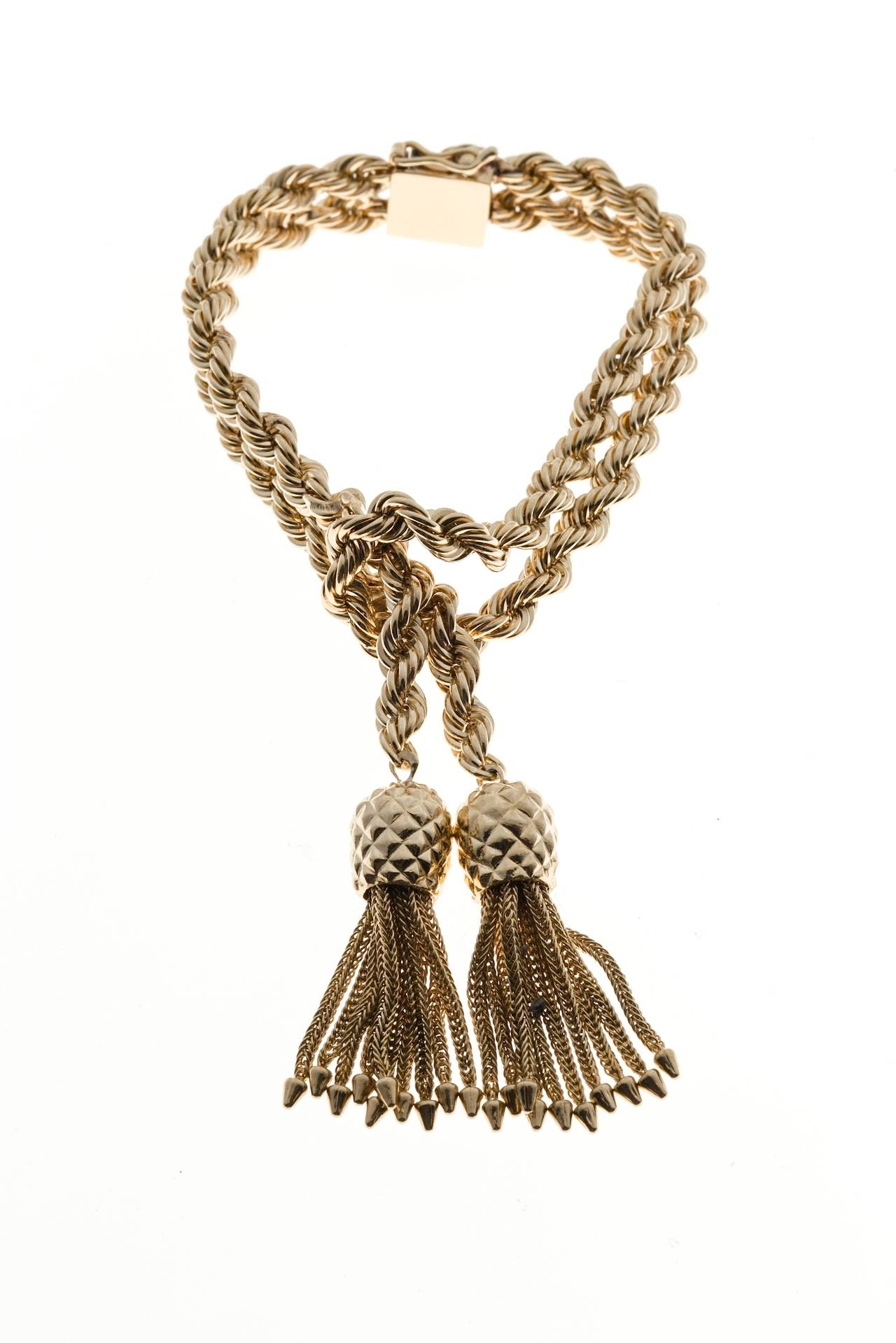 Women's Tiffany & Co. Rope Knot Tassel Gold Bracelet For Sale