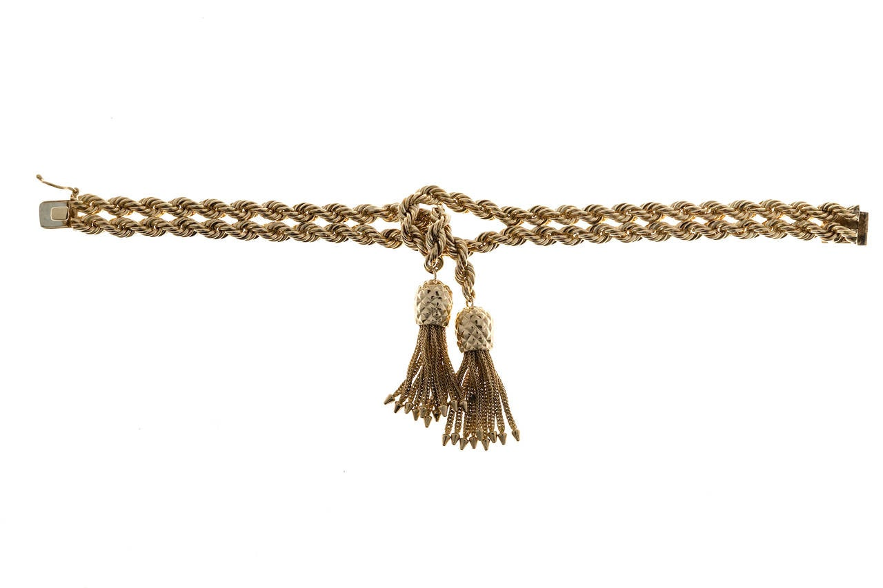Tiffany & Co. Rope Knot Tassel Gold Bracelet For Sale 2