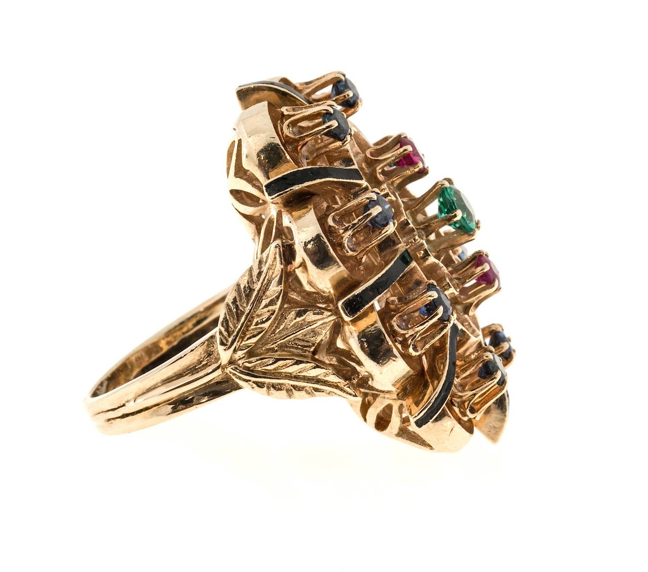 1950s emerald ruby sapphire gold ring at 1stdibs